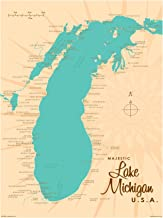 Lake Michigan Michigan Vintage-Style Map Art Print Poster by Lakebound (18