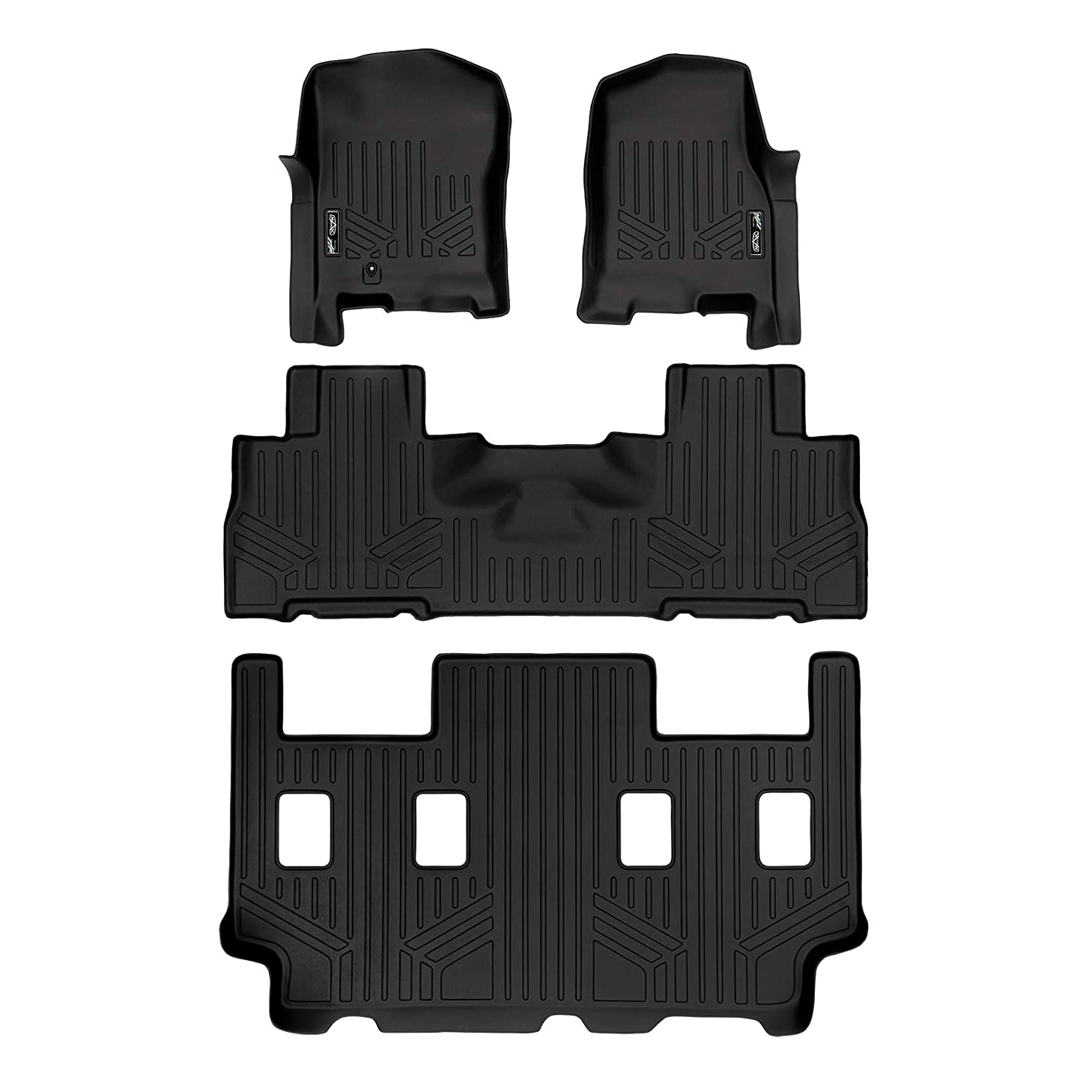 SMARTLINER Floor Mats 3 Row Liner Set Black for 07-10 Expedition EL / Navigator L with 2nd Row Bucket Seats without Console