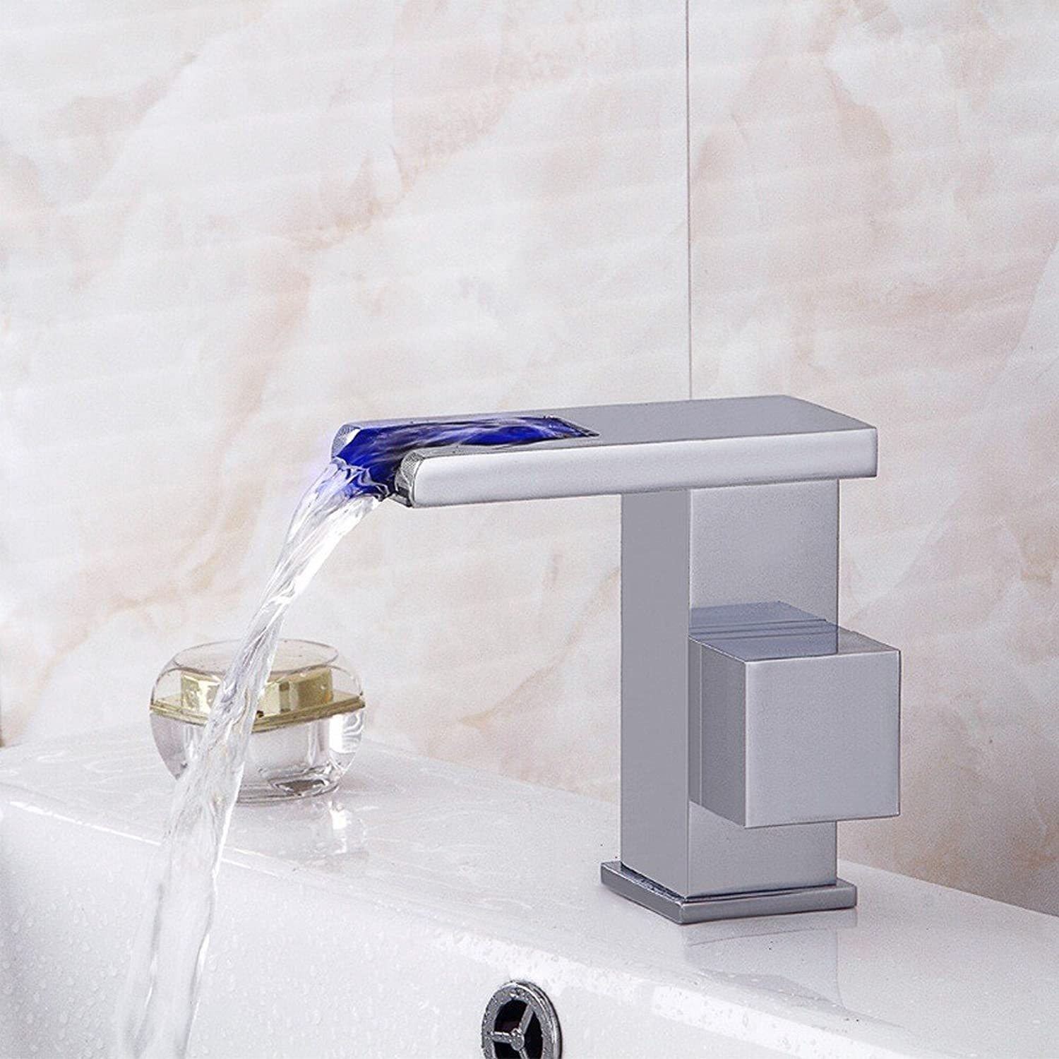 Rmckuva Bathroom Sink Taps Brass Modern Single Handle Faucet Bathroom Faucet Led Hydro Power Strap Waterfall Effect Wash Basin Sink Tap Chromium Coating Blender