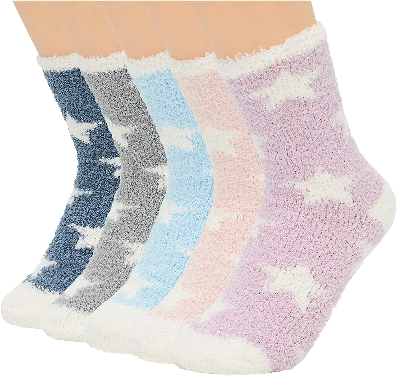 Women Fuzzy Cozy Socks Warm Super Soft Slipper Sock Winter Fluffy Microfiber Crew Socks for Home Sleeping Indoor