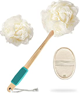 Loofah Sponge Shower Body Brush for Exfoliating 3 in 1 Set Includes Long Handled Back Scrubber, Bath Sponge Luffa Ball and Natural Exfoliator Loofah Pad for Men & Women Body, Face and Spa Washing