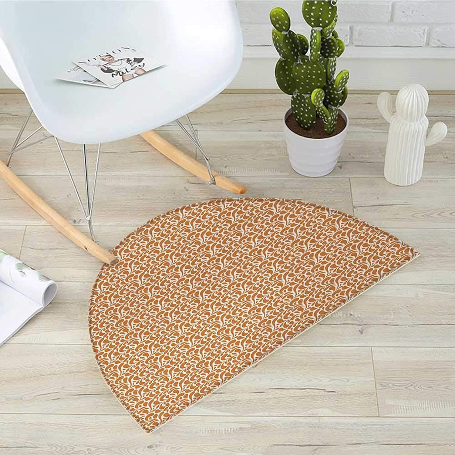 Ginger and White Semicircle Doormat Abstract Paisley Motifs Ethnic Middle East Folklore Inspirations Halfmoon doormats H 39.3  xD 59  Ginger and White