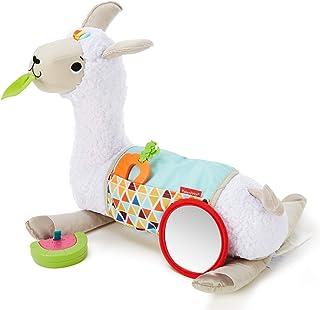 Fisher-Price Mon Coussin d'éveil Lama en peluche avec 3 jouets amovibles, jeu sur le ventre et assis, dès la naissance, GLK39
