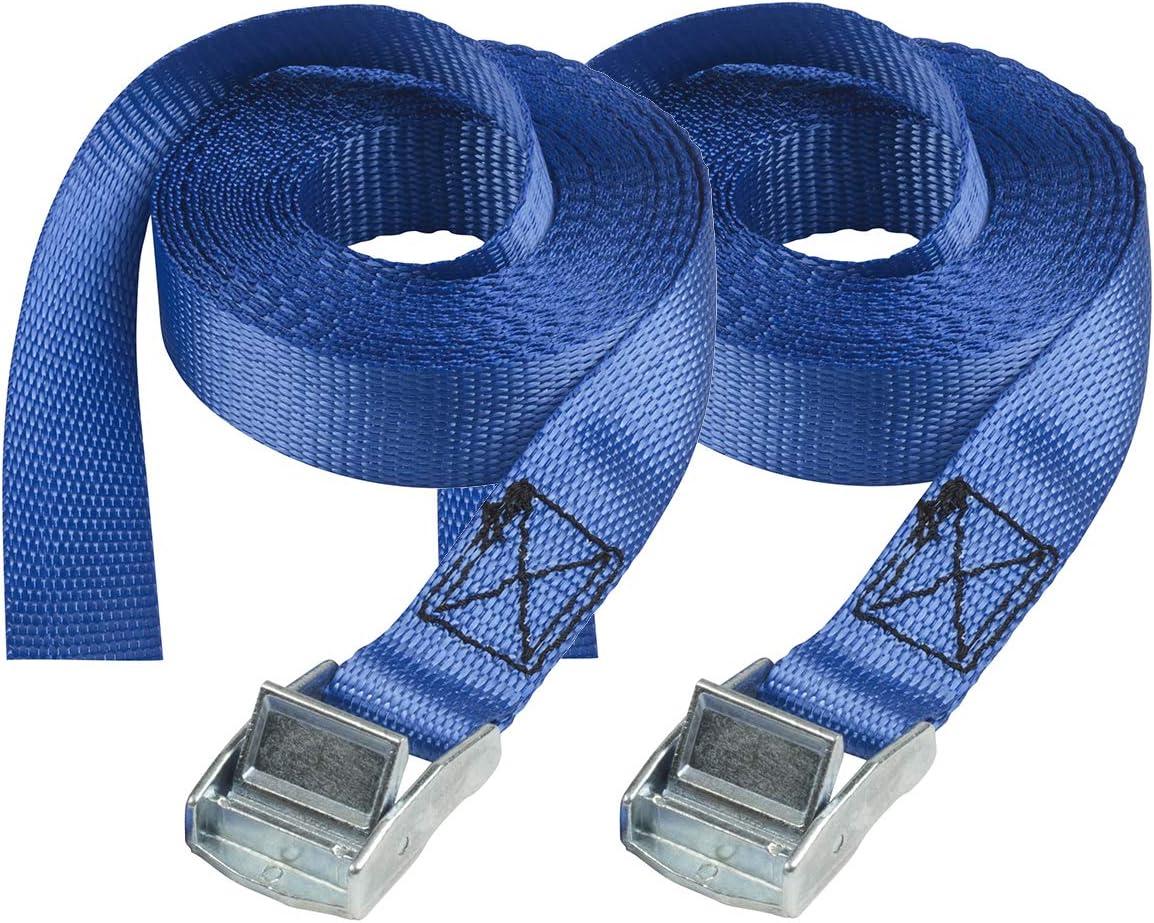 Master Lock 4363EURDAT Spanngurt mit Zamak legierten B/ügel Blau 2-er Set 2,5 m x 25 mm Gurt