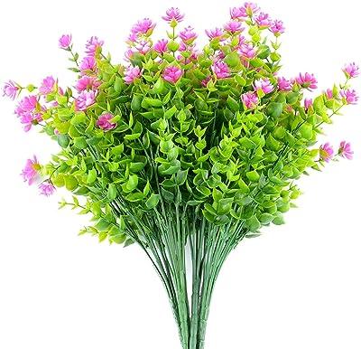 Artificial Flowers 6 Bundles Outdoor UV Resistant Plastic Flower Plants Faux Greenery Shrubs Plants for Hanging Planter Home Vase Porch Window Box Patio Wedding Garden Decor (Magenta)
