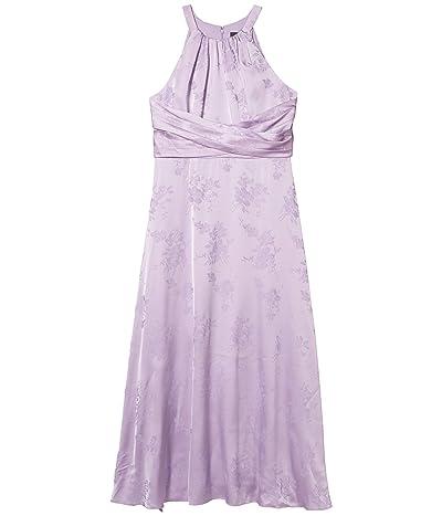 Adrianna Papell Satin Jacquard Midi Dress (Plush Lilac) Women