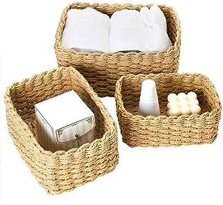 Lot de 3 paniers de rangement pour étagères, corbeille à papier recyclé, boîte de rangement pour maquillage, jouets, tiroi...