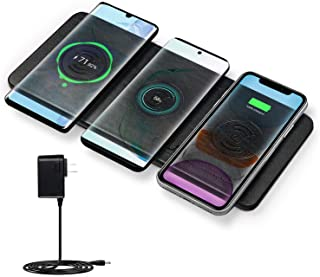 Wireless Charger Station, JE Qi Certified Ultra-Slim Leather Wireless Charging pad for Multiple Devices Compatible iPhone11/11 Pro Max/XR/8 Plus,Galaxy Note Series, New Airpods & All QI Enabled Phones
