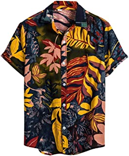 Slagon Ethnic Short Sleeve Blouse Casual Cotton Linen Top Printing Hawaiian Shirt Daily Fashion Tee For Men Holiday