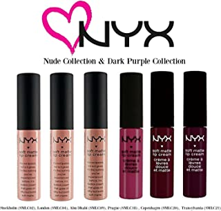 NYX Soft Matte LIP Cream, Nude Collection 1 + Dark Purple Collection: Stockholm,London,Abu Dhabi, Prague, Copenhagen,Transylvania