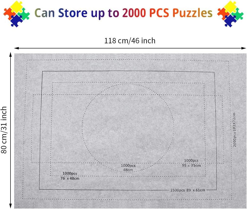 Gris 1500 Tapete para Puzzles Puzzle Roll Mat Fieltro Puzzles Zaloife Tapete Puzzle Tapete Puzzle Accesorios Puzzle Tapete Accesorios