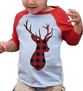 Kids Plaid Deer Christmas Raglan Shirt Red