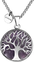 JADENOVA Family Tree Necklace Tree of Life Gemstone Pendant Necklace 24 Inches Stainless Steel Chain