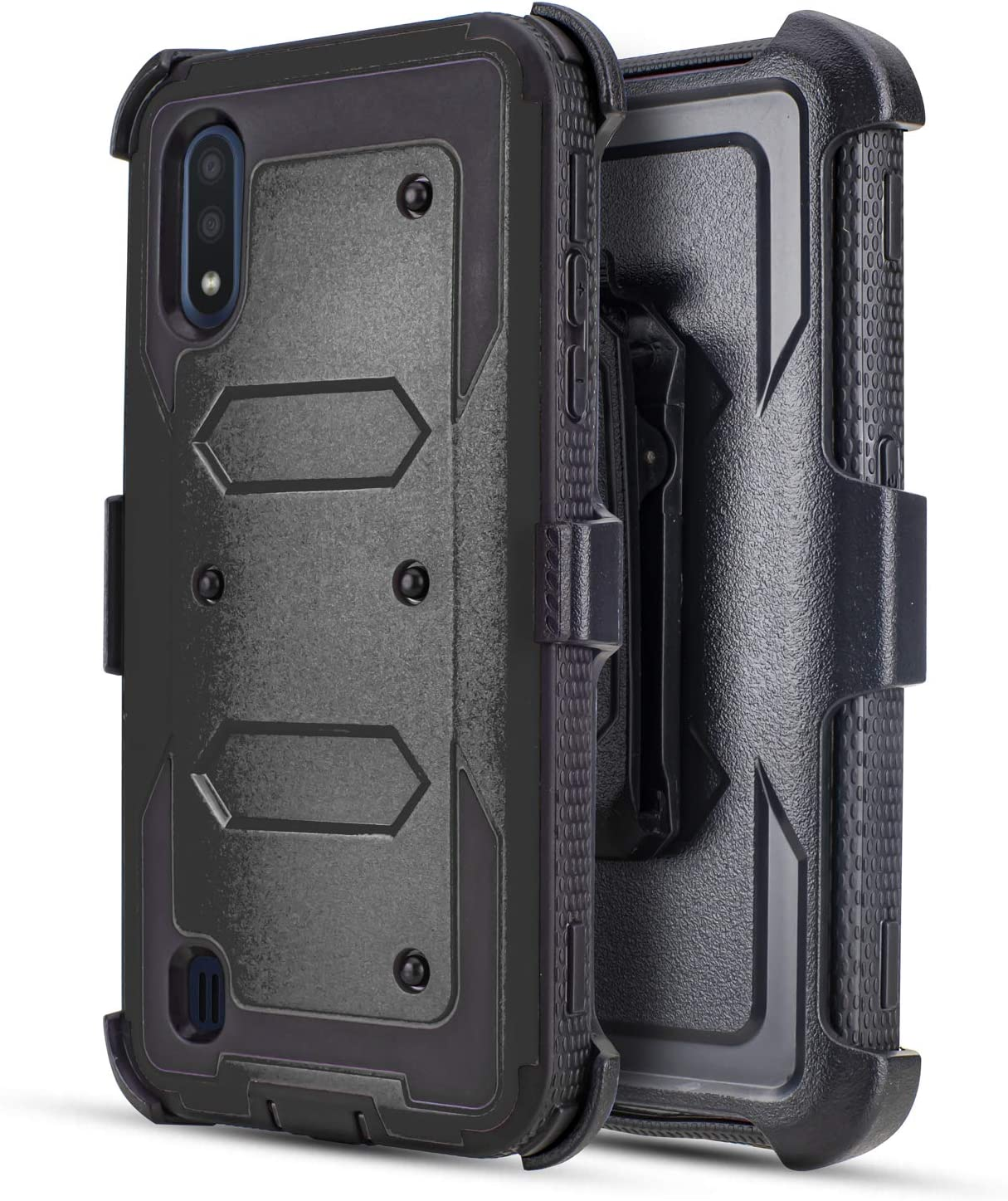 Compatible for Samsung Galaxy A01 Case, Customerfirst Case Built-in [Screen Protector] Heavy Duty Holster Cover [Belt Clip][Kickstand] (Black)