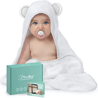 Miniboo Organic Bamboo Hooded Baby Towel – Ultra Soft and Super Absorbent Baby Bath Towels for Newborns, Infants and Toddl...