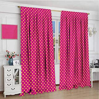 GUUVOR Girls Blackout Curtain Retro Polka Dots Vintage Textured Classical Lovely Feminine Nostalgic Design 2 Panel Sets W96 x L108 Inch Hot Pink Yellow