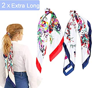 2Pcs Silk Hair Scrunchies Extra Long Hair Scarf Elastic Hair Ties Bands Flower Pattern Hair Bobbles for Ponytail Holder, 2 in 1 Vintage Bowknot Hair Accessories Ropes Scrunchie for Women
