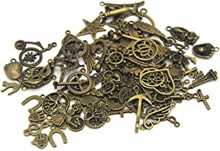 IBS Wholesale 120 Gram in Bulk Mixed Antique Bronze Necklace Pendants Bracelet Charms for DIY Crafting and Beading & Jewelry Making