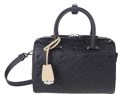 MCM Essential Monogrammed Leather Boston 23 (Black) Satchel Handbags