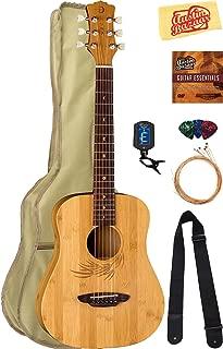 Luna Safari Bamboo Travel Guitar Bundle with Gig Bag, Strap, Strings, Tuner, Picks, Austin Bazaar Instructional DVD, and Polishing Cloth