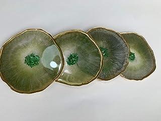Posavasos en resina verde esmeralda