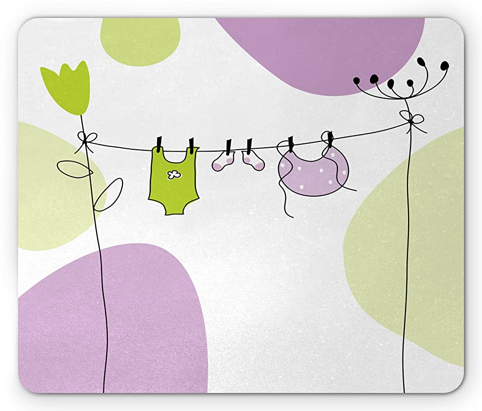 Lunarable Baby Shower Mouse Pad, Circular Shapes Background with Drying Baby Clothes on Flowers, Standard Size Rectangle Non-Slip Rubber Mousepad, Lilac Apple Green White