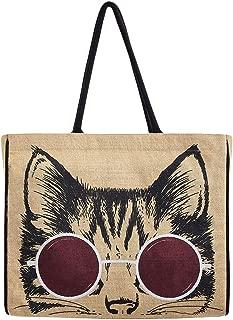 Women's Kitty Cat Meow Market Bag Burlap Tote Shopper