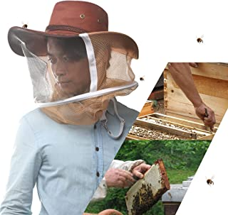 AOZBZ Beekeeping Hat with Veil, Anti-Mosquito Bee Bug Insect Fly Mask Cowboy Hat with Net Protection Outdoor Fishing for Men or Women