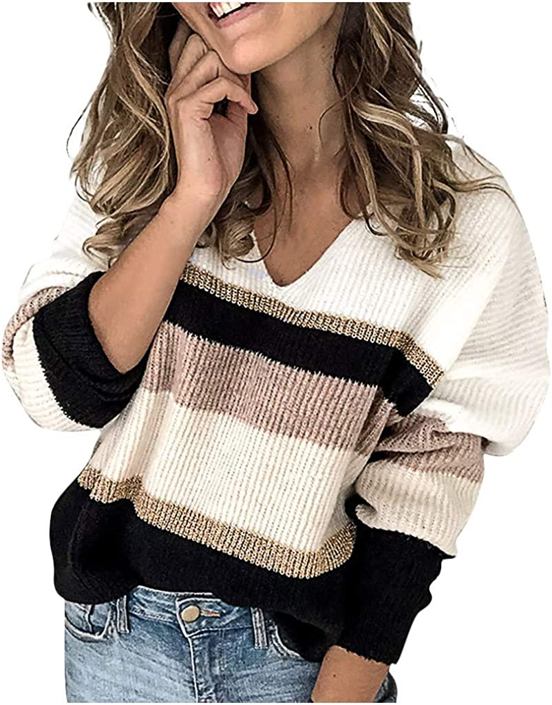 Women's V Neck Knitted Sweater Long Sleeve Loose Jumper Stripe Patchwork Sweaters Soft Comfy Pullover