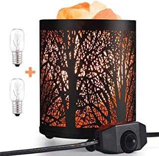 Lámpara de sal del Himalaya natural, purificador luz nocturna regulable, con dos bombillas repuesto, lámpara de dormitorio noche, Lámpara sal cálida para regalo de padre madre