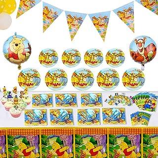 143 قطعة من لوازم الحفلات الفاخرة ويني ذا بوه، مجموعة هدايا زينة لـ 12 طفلاً، وتشمل أدوات المائدة، بالونات التنين، مفارش ا...