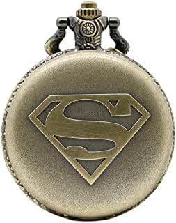 Superman Logo Antique Bronze Engraved Quartz Pocket Watch