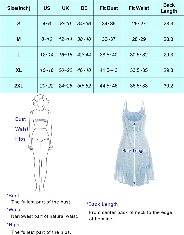 GRACE KARIN Women's Summer Casual Spaghetti Strap Dress Tied Waist Swiss Dot A line Flowy Mini Dress