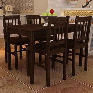 UnfadeMemory Conjunto de Mesa y 4 Sillas de Comedor Cocina,Muebles de Comedor,Madera de Pino (Marrón)