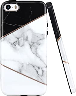 JAHOLAN iPhone 5 Case, iPhone 5S Case Geometric Marble Design Black Bumper Slim TPU Soft Rubber Silicone Cover Phone Case for iPhone 5 5S SE - White Gray