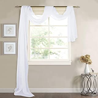 RYB HOME Sheer Curtains Valances - Canopy Bed Scarfs Sheer White Voile for Wedding Arch Living Room Bedroom Christmas Wind...