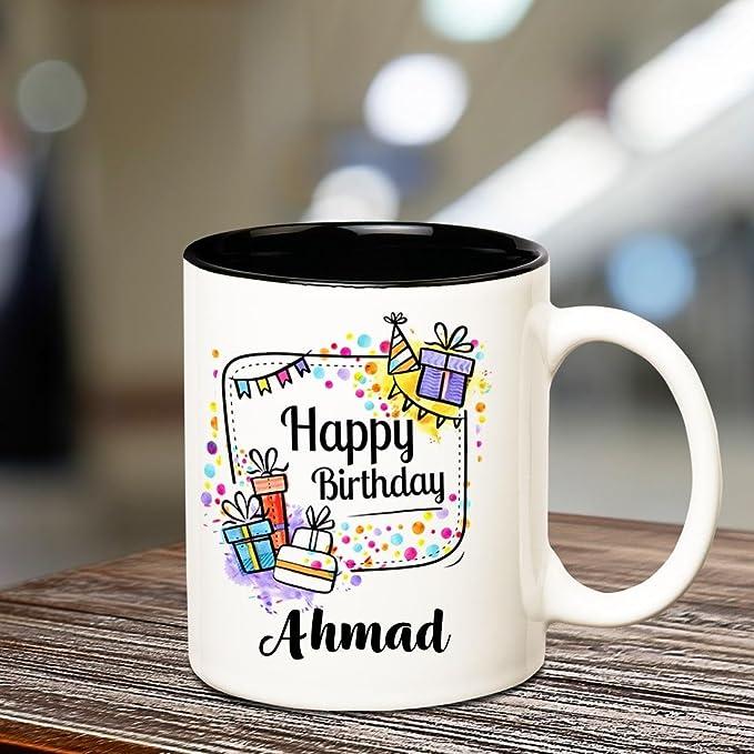 Huppme Happy Birthday Ahmad Inner Black Coffee Name Mug