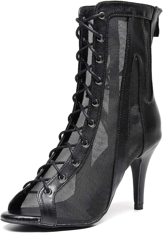 Goettin Open Toe Dance Boots 3.35inch Black Sexy Sacramento Mall net Microfiber Be super welcome