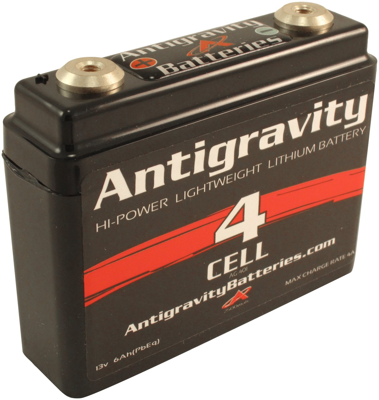 Amazon Com Antigravity Batteries Lightweight Motorcycle Lithium Ion Battery Small Case 4 Cell Ag401 16 Ounces 120 Cca Kicker Chopper Bobber Cafe Racer Harley Automotive