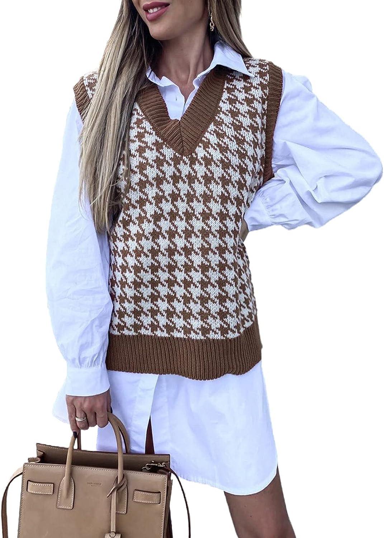 Aleumdr Women's Houndstooth Pattern Sweater Vest Sleeveless Loose V Neck Waistcoat Pullover Knitwear Top