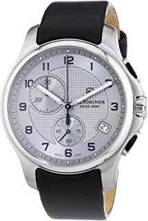 Victorinox Swiss Army Silver Dial SS Leather Chrono Quartz Men's Watch 241553