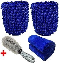 Meiso guanto per lavaggio auto confezione da 2 guanti in microfibra ultra delicati con panno da pulizia e spazzola per ruote per auto o uso domestico super assorbente non lascia pelucchi non graffia