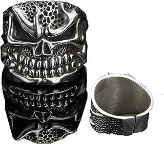 خاتم جمجمة فضي للرجال خاتم جمجمة 99.9% مادة فضية، قوة عالية ومتانة لا تسبب الحساسية خواتم للرجال والنساء