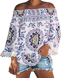 Women's Fashion Sexy Off The Shoulder Shirts Casual Print Long Bell Sleeve Blouse Tops