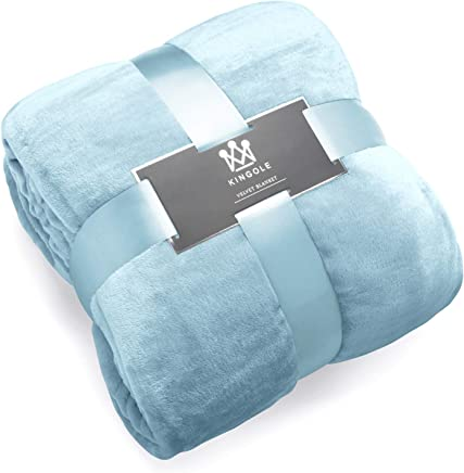 """Kingole Flannel Fleece Microfiber Throw Blanket, Luxury Light Blue Queen Size Lightweight Cozy Couch Bed Super Soft and Warm Plush Solid Color 350GSM (90"""" x90)"""