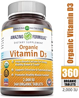 Amazing Formulas Organic Vitamin D3 2000 IU 360 Certified Organic Tablets - Important Vitamin For Optimal Body Function- Supports Bone Health, Cardiovascular Health, Kidney Function and Over-all Well-