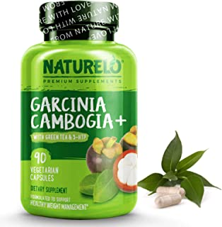 NATURELO Garcinia Cambogia Weight Loss Management - Natural Supplement with Pure Garcinia Cambogia, Guarana Seed, Green Te...