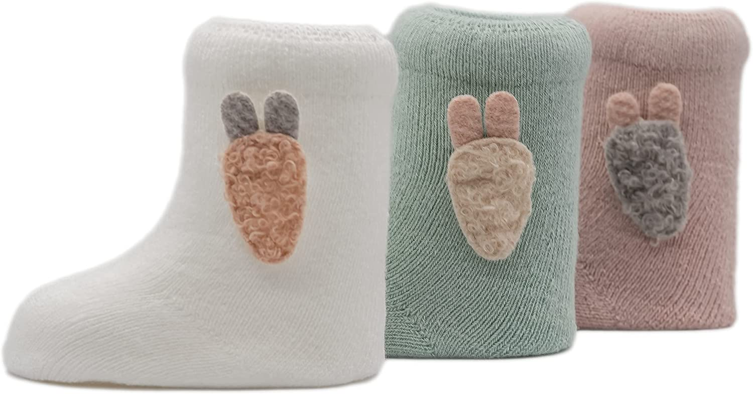 Baby Infant Casual Cozy Socks, Soft Cotten Blend, 3 Pack