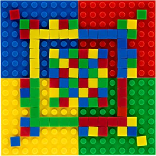 Strictly Briks Classic Mini Pixel Brick Set   100% Compatible with All Major Brands   Ages 5+ STEM Toy   110 Piece Mosaic Set   4 8x8 Baseplates, 6 2x4 Briks, 100 1x1 Pixels Red, Green, Blue, Yellow