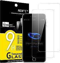 NEW'C Lot de 2, Verre Trempé Compatible avec iPhone 7 Plus et iPhone 8 Plus, Film Protection écran sans Bulles d'air Ultra Résistant (0,33mm HD Ultra Transparent) Dureté 9H Glass